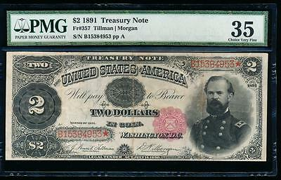 AC Fr 357 1891 $2 Treasury Coin Note McPHERSON PMG 35 !!!