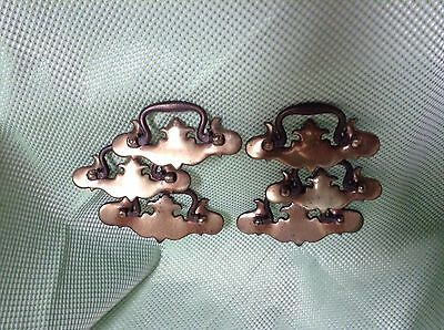 lot of 6 BRASS HANDLES~Antique Vintage Drawer Dresser Handle Pulls Chippendale