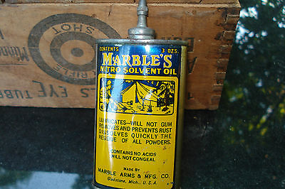 Vintage Marbles Nitro Solvent Oil Tin Can Gun Oiler Lead Top 3 Oz.