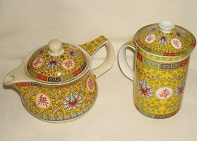 Chinese Teapot & Tea Cup Mug w/ Infusers Yellow Porcelain Marked