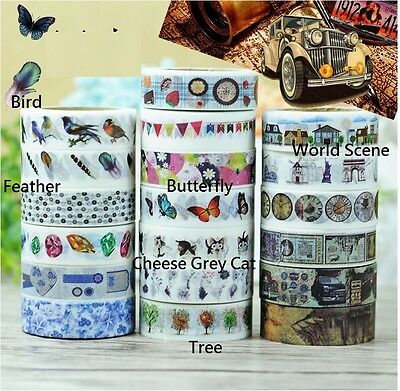 WASHI TAPE Grey Cat / Bird.. 15MM X 10MTR ROLL SCRAPBOOKING DIY ALBUM CRAFT WRAP