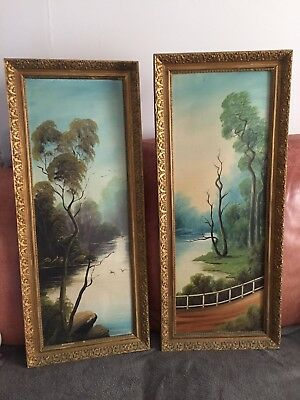 Pair Of Antique Oil Painting With Wooden Gold Frames