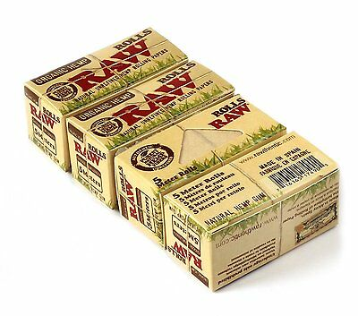 RAW ORGANIC ROLLS FOUR (4) BOXES Natural Hemp Cigarette rolling paper 5m each!