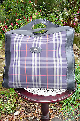 Authentic Vintage Burberrys England Leather Trim Canvas Check Tote Bag