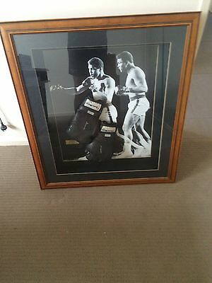 Autographed Mohamid Ali Boxing gloves Box Frame