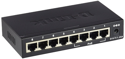 D-Link DES-1008PA 8-Port Fast Ethernet PoE Unmanaged Desktop Switch