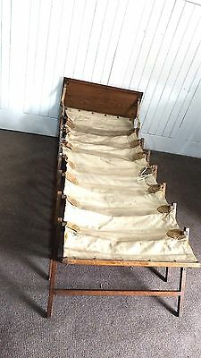Antique vintage oak campaign travel canvas concertina travelling bed