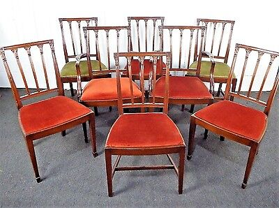 Antique carved mahogany Georgian style set of 8 dining chairs