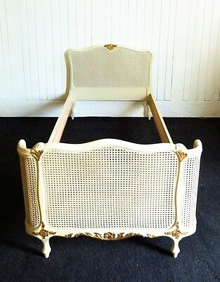 Antique style white and gold french country bergere cane bed