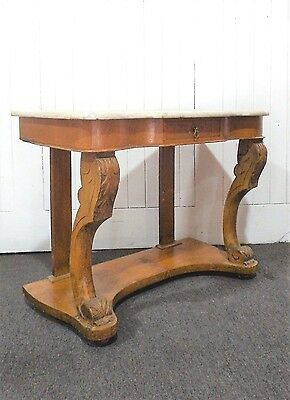 Antique Victorian carved Ash marble top washstand / dressing table