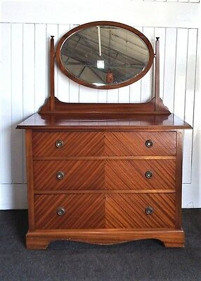 Antique Edwardian mahogany vanity dressing table - chest of drawers