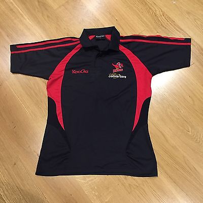 WA Reds Rugby League Kooga Supporters Polyester Polo Shirt Black Red Mens Small