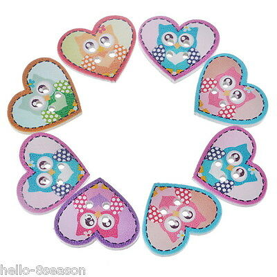 50PCs Multicolor Cute Cartoon Owl Heart 2-Hole Wooden Buttons Sewing Scrapbook