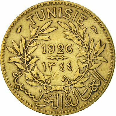 [#417473] Tunisia, Anonymous, Franc, 1926, Paris, AU(50-53), Aluminum-Bronze