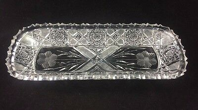 "EMPIRE Cut Glass ABP American Brilliant ANGELO Pattern 12 1/4"" Celery Dish"
