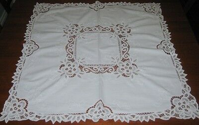 Vintage Battenburg Lace Tablecloth ~ Cotton ~ White ~ Square