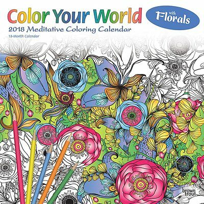 Color Your World Meditative Coloring 2018 Wall Calendar by Browntrout NEW