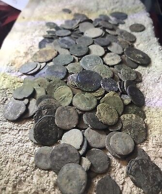 Lot Of 10 X Uncleaned Ancient Roman Imperial Coins. Mixed Sizes And Types.