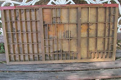 Vintage Wooden Printing Tray Drawer Typeset Block Letter Press Shadow Box!