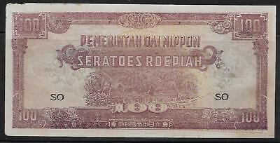 Neth. Indies Japanese Invasion Money 100 Roepiah 1940's SO Block