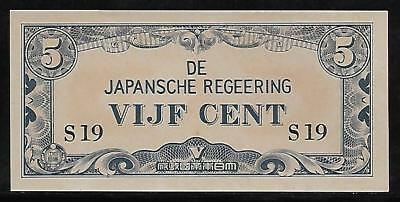 Neth. Indies Japanese Invasion Money 5 Cents 1940's S19 Block