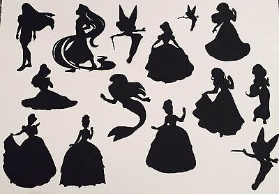 14 Disney Inspired Princess Silhouettes - Cards, Fairy Jars, Scrapbooking