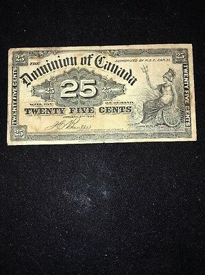 Dominion Of Canada $25 Cents Banknote 1900