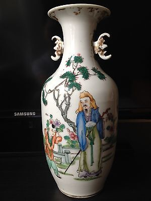 19/20th C. Antique Chinese famille-rose porcelain vase w/characters signed