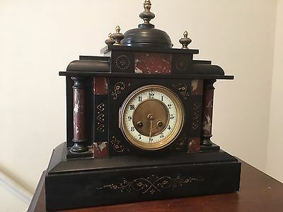 Victorian Antique  Large Chiming Slate Mantle Clock