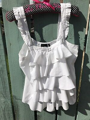 Ladies Frill Top By Next Size 14 White