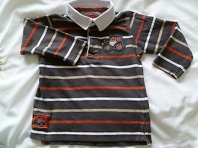 Boys Tu Tractor Long Sleeved Rugby Style Brown Top Age 12 - 18 months