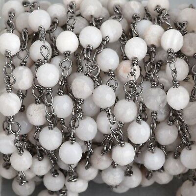 3ft WHITE LACE AGATE Gemstone Rosary Chain, gunmetal, 6mm double wrap, fch0704a