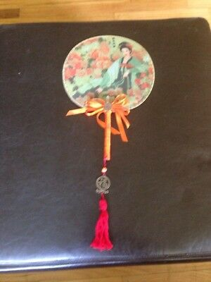 Vintage  Asian Fold Out Paper Hand Fan