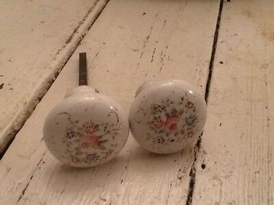 Vintage Antique Pair Lot Of 2 White Porcelain Floral Design Doorknobs Door Knobs