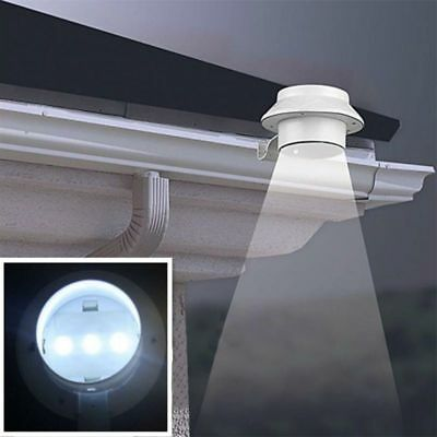 LED Solar Powered Garden Light Outdoor Fence Power With Bracket New Wall Gutter