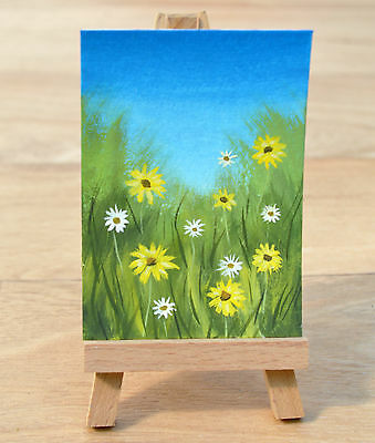 SARAH FEATHERSTONE,ORIGINAL ACEO ART WATERCOLOUR PAINTING,Flowers In The Meadow