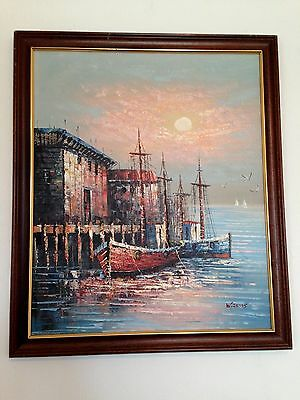 Original Oil Painting Seascape Nautical Harbour Scene Signed Framed Large Canvas
