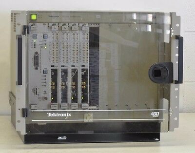 Tektronix VX1410 Mainframe w/ Door & CMD Status + Qty 4 Tx VXI Modules