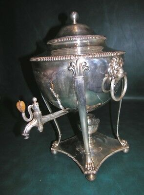 Antique Sheffield Silver Plate Plated Hot Water Urn Samovar Lion Head 16""