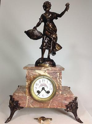 Perfect 19th Genuine French Marble FCO striking 8 day Mantel Clock