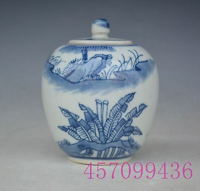 Chinese Blue and white Old porcelain Handmade Pot Jar Jug Tank Tea Cans