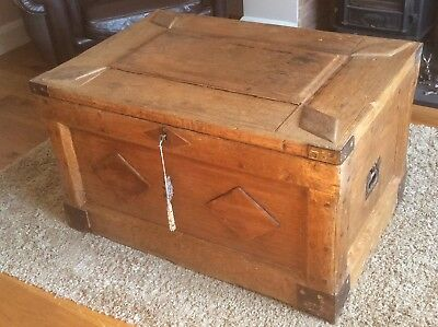 Antique 19thC Carpenters Tool Chest Trunk coffee table