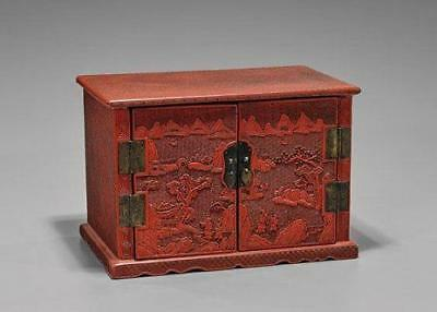 Large Antique Carved Cinnabar Lacquer Chest