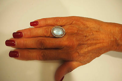 Rainbow Moonstone Sterling Silver Ring Size 5.5