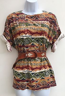 Vintage 80s 90s Brown Green Aztec Tribal Cotton Oversized T Shirt 10 12 14