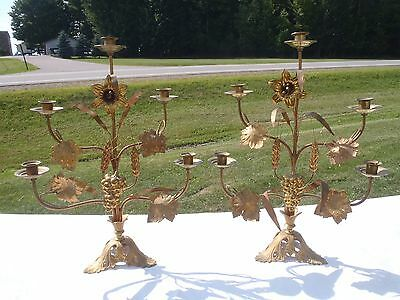 Rare Vintage Candelabra,candle Holders,brass,metal Pair Of Two Wedding Candle Ho