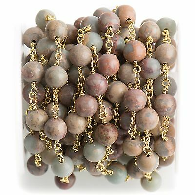 3ft AQUA TERRA JASPER Gemstone Rosary Chain, double wrap gold 8mm fch0707a