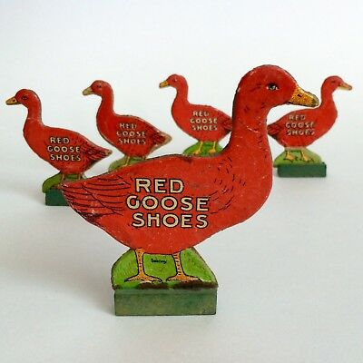 "5 Vintage Red Goose Shoes Advertising Cardboard Geese 3.5"" And 2.5"" Tall"