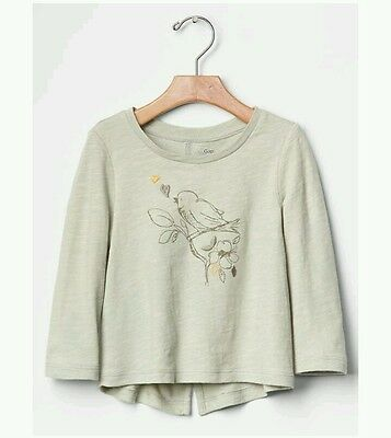 NWT Baby Gap girls 5T shirt cream white birds graphic