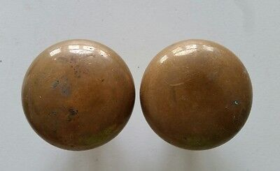 2 Heavy Solid Brass Door Knobs (947)
